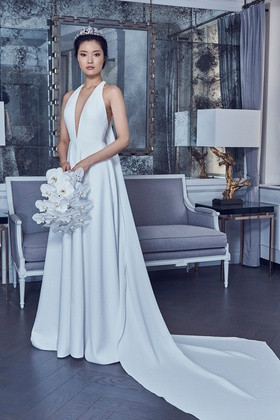 Romona Keveza Spring 2019 collection crepe v neck halter a line gown