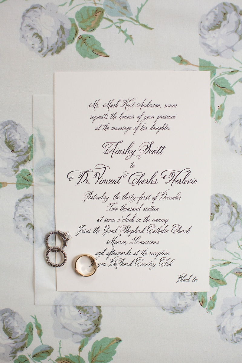 Invitations & More Photos - Wedding Rings on Black Tie Invite ...