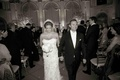 B&W photo of Donatella Arpaia and Alan Stewart wedding recessional