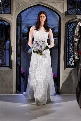 8d913645b9e Oleg Cassini Spring 2018 wedding dress light blue under dress with lace  overlay long sleeves