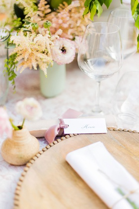 wedding reception place setting wood charger plate with bud vase pottery made by bride pink ribbon