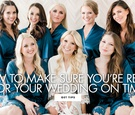bridesmaids in teal robes, bride in white robe, make sure you're not late for your wedding