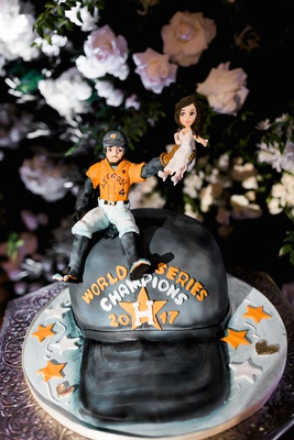 George Springer III wedding cake groom's cake uniform houston astros baseball hat bride catch