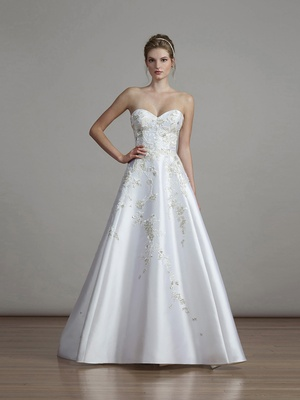 Liancarlo spring 2018 English garden embroidery soft Mikado sweetheart strapless ball gown bridal