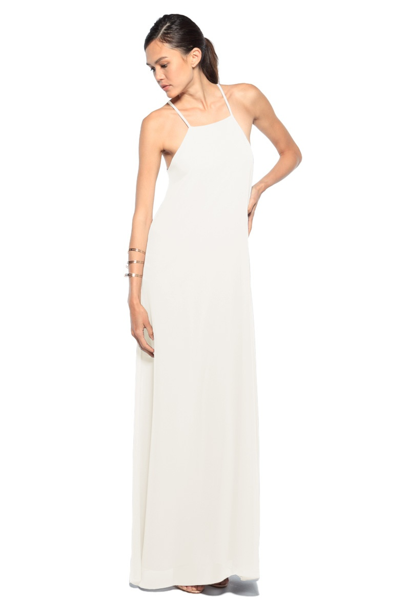 Flattering on all figures, this simple sheath is the perfect dress to walk down the aisle in or out