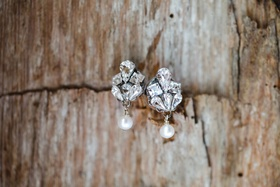 sara gabriel rose diamond earring with dangling pearl