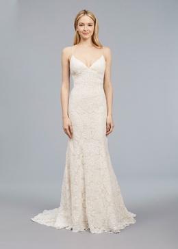 Blue Willow Bride Spring 2018 bridal collection Ali wedding dress lace v neckline slip gown