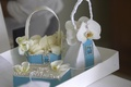 blue and white jeweled flower girl baskets