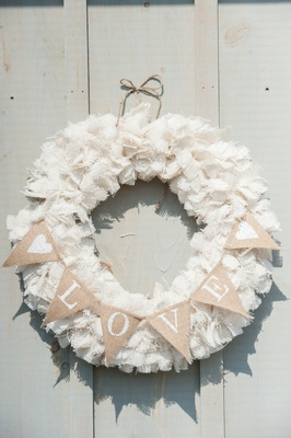 Shabby chic burlap wreath with LOVE sign