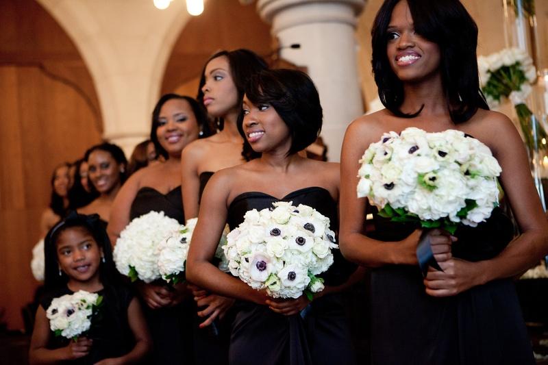 African American bridesmaids in black dresses
