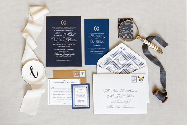 invitation suite with gold envelopes, navy inserts, diy invitations