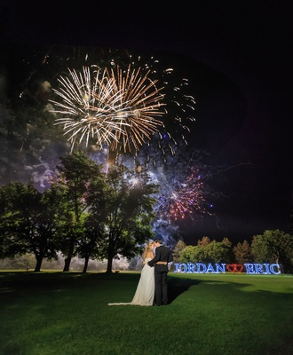 fireworks at wedding reception, bride and groom's names in lights