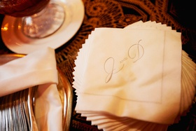 personalized beverage napkins initials of bride and groom with elegant border