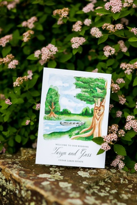 wedding ceremony program welcome to our wedding sign watercolor painting of venue estate lake boat