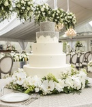 5 five tier white silver cake fresh flowers wedding reception cake beading chocolate cream cheese