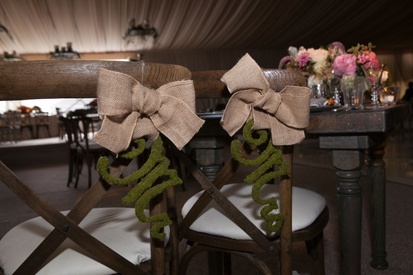 rustic wooden chairs enchanted decoration burlap moss natural bow