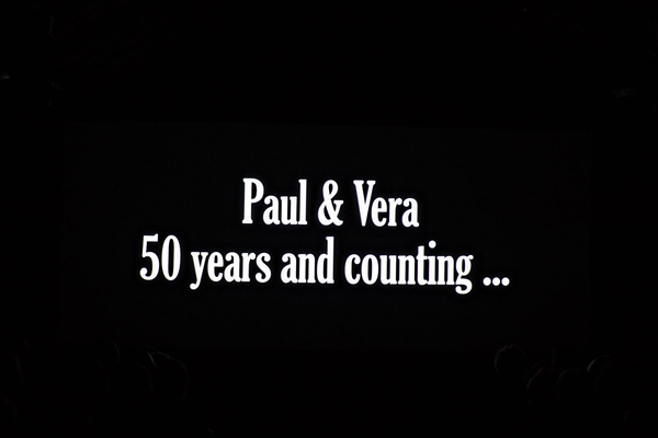 wedding video montage for guests paul and vera fifty years and counting black and white text