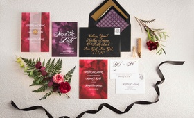 vintage themed purple red invitations wedding styled shoot classic 1920s 1930s 1940s new york
