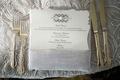 Die cut wedding menu with single pearl