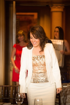 Bride-to-be wears white suit, golden sequined blouse to bridal shower at the Grand del Mar resort