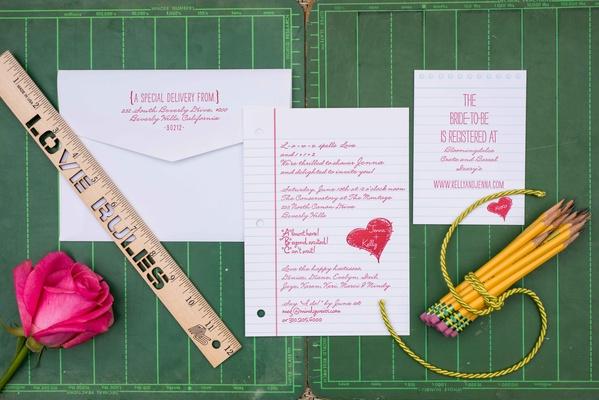 Cute school theme bridal shower invitation for teacher wide rule college rule paper invitation