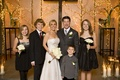 Bride and groom with sons and daughters