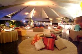 Circular rotunda room with modern couches