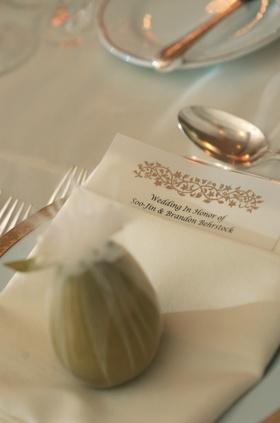 Gold motif on menu card