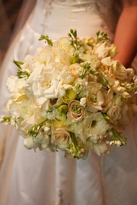 All white gardenia and rose wedding bouquet