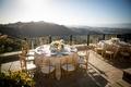 malibu rocky oaks wedding reception overlooking Santa Monica Mountai, centerpiece with white florals