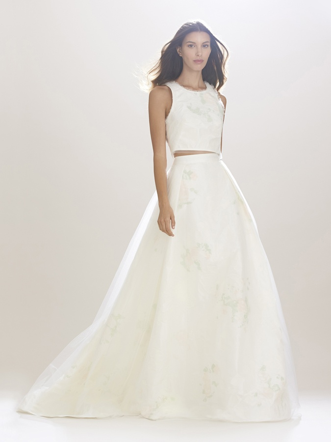 Wedding dresses photos crop top skirt by carolina herrera crop top tank wedding dress with ball gown skirt by carolina herrera junglespirit Gallery