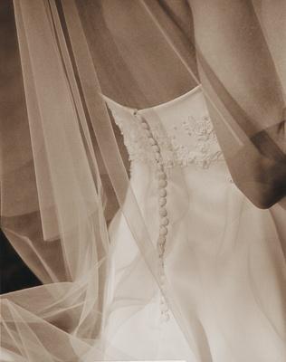 Sepia toned wedding dress and veil