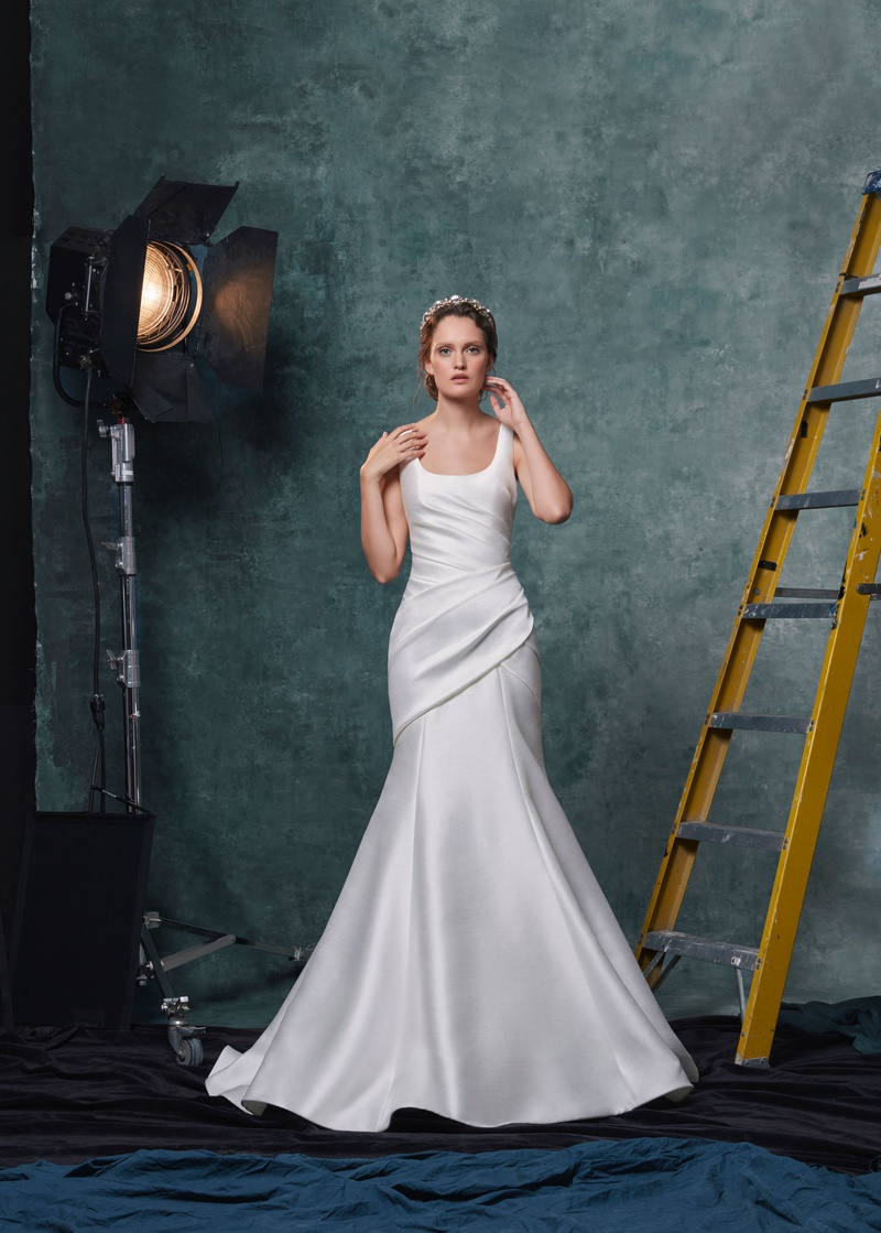 Sareh Nouri fall 2019 bridal collection wedding dress Salma draped trumpet gown scoop neckline