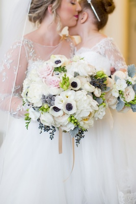 white floral bouquet hints blush greenery blue north carolina wedding arrangement peonies roses