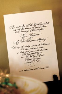 Wedding invitation with calligraphy