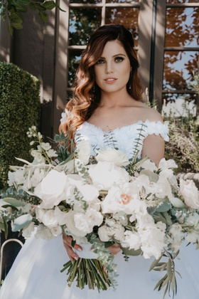 Echosmith singer Sydney Sierota and Cameron Quiseng wedding bouquet white flowers soft greenery big