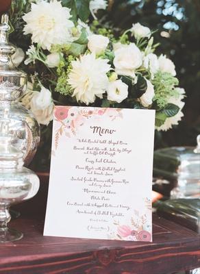 Wedding reception menu with vintage flowers