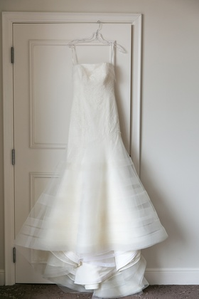 strapless trumpet gown hanging up vera wang classic striped skirt lace