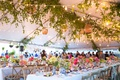 rehearsal dinner inspiration, tented rehearsal dinner garden theme colorful flowers