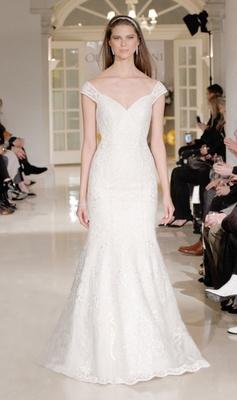 Oleg Cassini Fall 2018 bridal collection spring 2019 wedding dress off shoulder neckline beaded