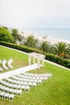 bel air bay club wedding, outdoor wedding ceremony on lawn overlooking beach and ocean