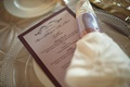 Lavender wedding menu with pearl detail