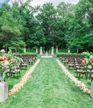 lucas estate wedding, trees and lawn ceremony, pink and yellow florals