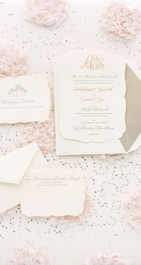 Champagne-hued liner and embossed cards
