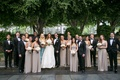 Bride in Oscar de la Renta groom in tom ford tux and bridesmaids in amsale tan bridesmaid dresses