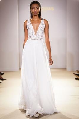 f02a2afe3219e4 Atelier Pronovias 2019 bridal collection wedding dresses v neck gown  chiffon illusion bodice