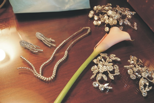 Sparkling wedding earrings, necklace, and hair accessories