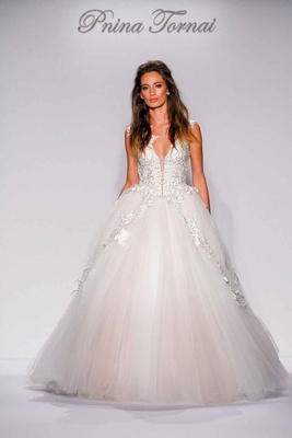 Pnina Tornai for Kleinfeld 2016 ball gown with crystal beaded bodice and tulle skirt