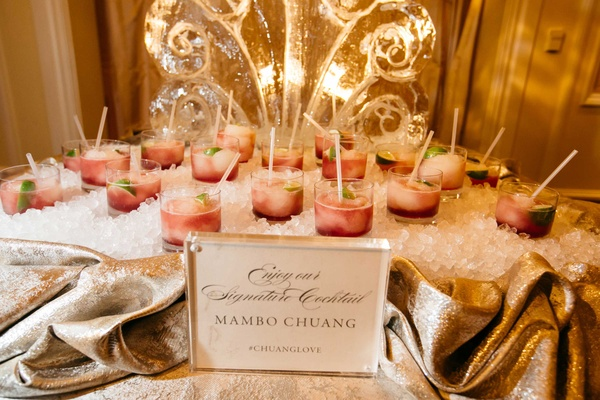 Mambo Chuang wedding signature cocktail on ice inspired by Mi Cocina in Dallas restaurant