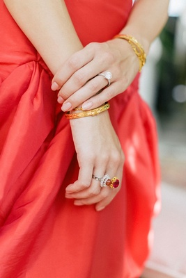 hong kong taiwan wedding, gold bracelet, ruby ring in yellow gold, diamond solitaire engagement ring